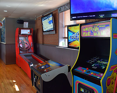 Skee Ball, Golf, and Ms. Pac Man Arcade Games